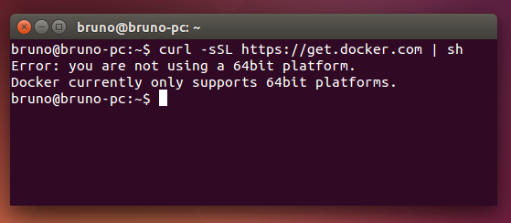 Error: you are not using a 64bit platform. Docker currently only supports 64bit platforms.